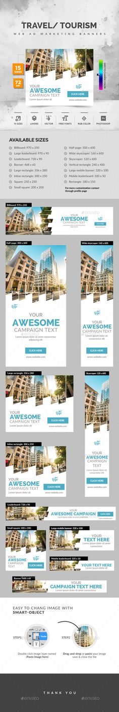 Travel Ad Banners - #Banners & Ads #Web Elements Download here: https://graphicriver.net/item/travel-ad-banners/19727876?ref=alena994