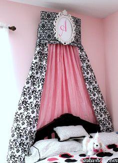 cornic tutori, crown cornic, diy bedding, bed crown