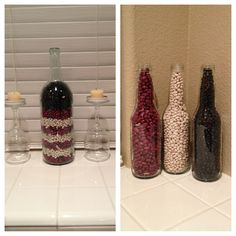 I'd do this with mason jars instead - Bottles filled with beans. Red, white & blue! Easy Americana decor.