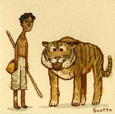 """You think tiger is your friend, he is an animal, not a playmate."" GREAT SHOWDOWNS by scott c Art Quiz, Bollywood Posters, Funny Paintings, Movie Prints, Nerd, Sketchbook Inspiration, Cute Images, Cool Cartoons, Indian Art"