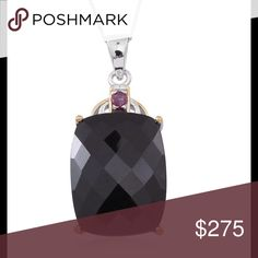 Black Spinel, Ruby Pendant Black Spinel, Ruby Pendant Beautiful Black Spinel, often called The Black Diamond accented with natural Ruby, 14K YG Over .925 Sterling Silver nickel free. Pendant With Chain (18 in) TGW 26.74 Cts. Fancy checker board cut. Jewelry Necklaces