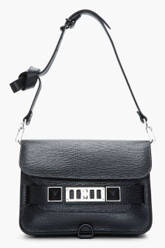 78cc734352 PROENZA SCHOULER Mini Black Textured Leather PS11 Shoulder Bag Proenza  Schouler