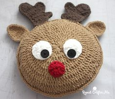 Snuggle up with Rudolph the red-nosed reindeer when you make this pillow using Bernat Blanket Yarn! A little more Christmas in July fun and the perfect piece to add to your holiday decor. Or a fun gift for the holidays! Never to early to start your Christmas crochet projects! Materials: Bernat Blanket Yarn in: Race Car …