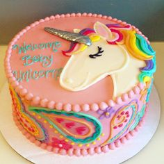Baby unicorn baby shower cake!