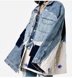 Oversized denim jacket with embroidered details. Oversized denim jacket with embroidered details. Elisa Cavaletti, Jean Jacket Outfits, Denim Ideas, Oversized Denim Jacket, Creation Couture, Recycled Fashion, Denim Fashion, Fashion Outfits, Jeans Style
