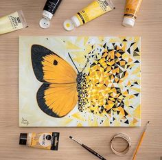 70 Easy Canvas Painting Ideas For Beginners - Fashion Hombre Small Canvas Art, Mini Canvas Art, Arte Sketchbook, Butterfly Painting, Butterfly Artwork, Cool Art Drawings, Marker Drawings, Acrylic Art, Mandala Art