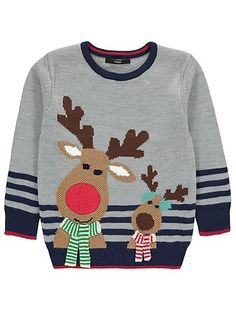 Let your little one lead the way for the festive celebrations, with this cosy knitted Christmas jumper featuring their favourite reindeers. The Rudolph the R. Matching Family Christmas Sweaters, Reindeer Christmas Jumper, Matching Christmas Outfits, Best Ugly Christmas Sweater, Xmas Jumpers, Knitted Christmas Jumpers, Christmas Knitting, Knitting For Kids, Baby Knitting