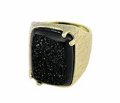 #Anel #folheado a ouro, com acabamento superficial lixado, contendo Pedra Drusa sintética em formato retangular.  - Código: AN0380 - Preço 43,10 - Garantia de 1 ano pós compra. Compre em: www.imagemfolheados.com.br/?a=76729