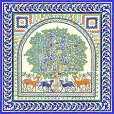 From Jerusalem Pottery, this Tree of Life small tile mural with blue border tiles, 24 x 24 inches.