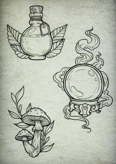 Piercings and tattoos - witch potion, bullet and mushroom tattoo art .- Piercings and tattoos – witch potion, bullet and mushroom tattoo art ideas, Flash Art Tattoos, Body Art Tattoos, Arabic Tattoos, Sleeve Tattoos, Tattoo Sketches, Tattoo Drawings, Art Drawings, Doodle Tattoo, Art Sketches