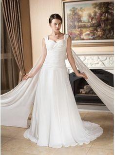 A-Line/Princess Sweetheart Watteau Train Chiffon Wedding Dress With Ruffle (002000573) - JJsHouse