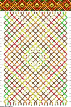 Friendship bracelet pattern - 24 strings, 6 colors - diamonds, squares, dots, leaves