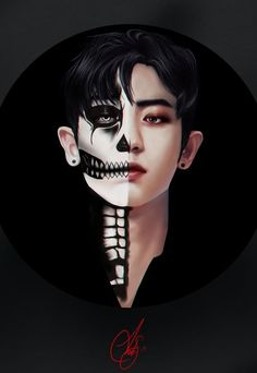 Chanyeol Halloween Series by BunnyArt on FanBook Exo Bts, Park Chanyeol Exo, Bts And Exo, Kpop Exo, Chanyeol Wallpaper, Exo Fanart, K Pop Wallpaper, Character Illustration, Digital Illustration