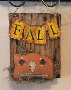 Fall Pumpkin Sign Upcycled Wood Holiday Sign by CraftsByJoyice