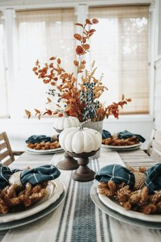 Blue + Earth-Toned Fall Tablescape Blue + Earth-Toned Fall Tablescape More from my site Simple Fall Tablescape Ideas Using Blue and White 25 Best Cheap DIY Thanksgiving Tablescape Ideas Naked Cake Farmhouse Fall Tablescape Thanksgiving Decorations, Seasonal Decor, Holiday Decor, Diy Thanksgiving, Autumn Decorations, Thanksgiving Tablescapes, Fall Home Decor, Autumn Home, Fal Decor
