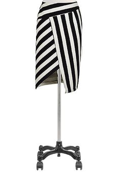 I <3 this Asymmetrical stripe bonded knit skirt from eShakti