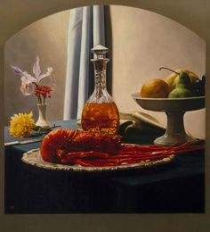 "Luis Jose Estremadoyro, Still Life with Bourbon and Lobster. (13.58""x14.17""), Oil on panel."