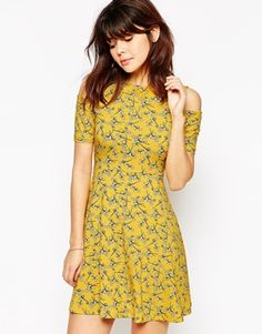 ASOS Skater Dress with Cut Out Shoulder in Chartreuse Floral Print