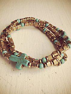 Dominga Turquoise Cross Bracelet Set