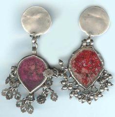 earrings tear drop red glass Indian tops - ethnic jewels