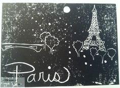 Paris Linocut Print - Orginal Handmade Wall Art and Decor. $28.00, via Etsy.