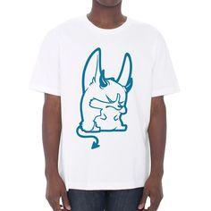Devil Corgi Unisex T-shirt in white.