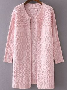 me ~ Pink Cable Knit Beaded Long Sweater Coat Crochet Jacket Pattern, Crochet Coat, Cardigan Pattern, Long Sweater Coat, Long Sweaters, Sweaters For Women, Long Cardigan, Pink Sweater, Crochet Summer Hats