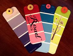 Free homemade bookmarks from paint chips.