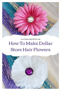 These Dollar Store Hair Flowers are so easy to make with just supplies from your local dollar store and so affordable, so you can make one in every color! Daughters, To My Daughter, Gal Got, Cheap Flowers, Hair Flowers, Craft Night, Housewife, Creative Crafts, Dollar Stores