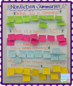 Nonfiction Summary intro activity - a great interactive anchor chart for upper elementary language arts. Reading Activities, Teaching Reading, Summarizing Activities, Teaching Ideas, Learning, Reading Resources, Student Teaching, Literacy Activities, Reading Workshop
