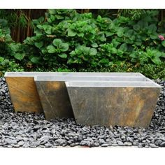 Stone Garden Planters And Troughs Tall trough slate planter use to line a path accessorize a dull tall trough slate planter use to line a path accessorize a dull wall or add a touch of natural charm to your outdoor landscape workwithnaturefo