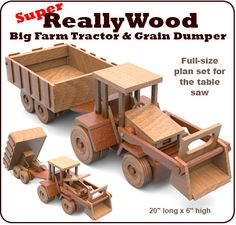 Super ReallyWood Big Farm Tractor & Grain Dumper Full-Size Wood Toy Plan Set