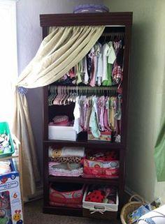 perfect idea for small rooms - Site Title Bookshelf Closet, Nursery Bookshelf, Bedroom Closet Storage, Baby Closet Organization, Organizing Baby Stuff, Baby Armoire, Armoire Ikea, Baby Dresser, Baby Clothes Storage