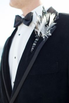 www.weddbook.com everything about wedding ♥ Feather Boutonniere, Black Bow Tie and  Gorgeous Tuxedo ♥ Unique Boutonniere for Groom #groom #wedding #boutonniere #tuxedo #black #feather