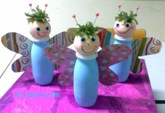 Skittle shaped choir boys from actimel bottles - that's what I'm thinking Preschool Art Activities, Fun Activities For Toddlers, Summer Crafts For Kids, Diy For Kids, Recycled Art Projects, Doll Crafts, Toddler Crafts, Cool Baby Stuff, Bottle Crafts