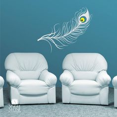 Peacock Feather Wall Decal - Vinyl Art Stickers Custom Home Decor Vinyl Wall Stickers, Vinyl Wall Decals, Wall Design, Wall Decor, Peacock, Wallpaper, Garden, Graphics, Studios