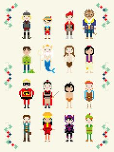 Disney Princes and Heroes Cross Stitch Pixel Sampler  PDF