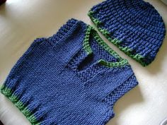 vest knitted two needles hat crochet with caron simply soft in dark country blue and dark sage green chaleco tejido a tricot - PIPicStats Baby Knitting Patterns, Baby Sweater Knitting Pattern, Baby Boy Knitting, Vest Pattern, Knitting Designs, Hand Knitting, Caron Simply Soft, Crochet Bikini, Knit Crochet