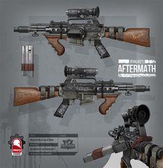 romero's aftermath - makeshift assault rifle, Kris Thaler on ArtStation at https://artstation.com/artwork/romero-s-aftermath-makeshift-assault-rifle-98995b9f-b0a9-4cae-b205-58901d86cc83