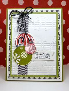 Handmade Christmas card by Vickie Z. using Holiday Greetings and Holly Jolly (retired) from Verve.  #vervestamps
