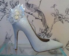 Sparkly white wedding shoes by http://www.cherrybomb-boutique.com gorgeous #weddingshoes