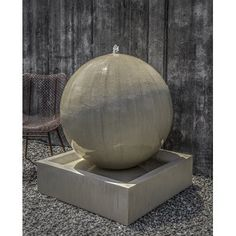 Campania International, Inc Concrete Large Sphere Fountain Finish: French Limestone Modern Outdoor Fountains, Concrete Fountains, Garden Water Fountains, Outdoor Art, Fountain Garden, Wall Fountains, Stone Fountains, Outdoor Stone, Water Gardens