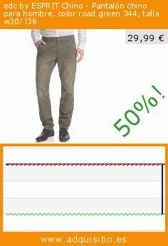 edc by ESPRIT Chino - Pantalón chino para hombre, color road green 344, talla w30/ l36 (Ropa). Baja 50%! Precio actual 29,99 €, el precio anterior fue de 60,00 €. https://www.adquisitio.es/edc-by-esprit/chino-pantal%C3%B3n-chino-78