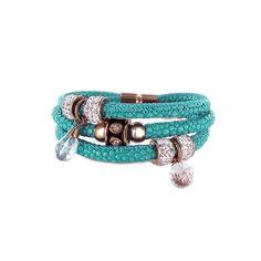New Bling 980101580 - Leren Armband 4x Bead met Zirkonia - Turquoise en Zilverkleurig - 20 cm