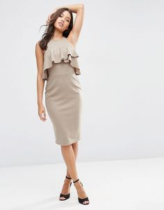 ASOS+High+Neck+Pencil+Dress+with+Frill+Detail