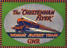 the cheltenham flyer GWR railway worlds fastest train Luggage Labels, Aviation, Art Deco, Posters, Trains, Poster, Billboard, Art Decor, Aircraft