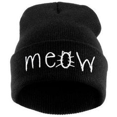 Tuscom Winter Knitting MEOW Beanie Hat And Snapback Men And Women... ❤ liked on Polyvore featuring men's fashion, men's accessories, men's hats, mens knit hats, mens beanie hats, mens snapback caps, mens beanie caps and mens beanie