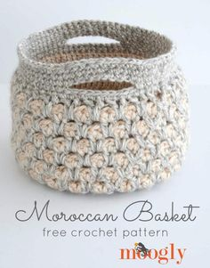 "Moroccan Basket | AllFreeCrochet.com ~ love the design on this basket ~ 8"" diameter x 7"" tall ~ intermediate skill ~ uses Moroccan Tile Stitch ~ lined with another layer of crochet making it sturdy ~ FREE CROCHET pattern"