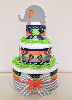 Chevron Gray Navy Lime green and Orange Lil' by PoshPartyCompany, $45.00