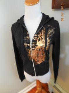 Express Womens Black Brassy Gold Metallic Hoodie Zip Jacket Sz Medium | eBay